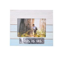Nuevo marco de fotos de madera de estilo con el Metal Stick Word para la decoración del hogar