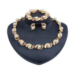Aleación de oro Joyería de moda con zarcillo Pulsera Anillo Collar de perlas con elegantes
