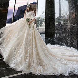Sexy Luxe Haute Couture Bruiloft jurk met Midden-mouwen