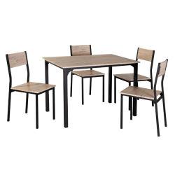 Uni-Häuser 5 PC stellte moderner Speisetisch-gesetzter hölzerner Metallesszimmer-gesetzter Rahmen für chinesischen speisenden Möbel-hölzernen Tisch und Stuhl ein