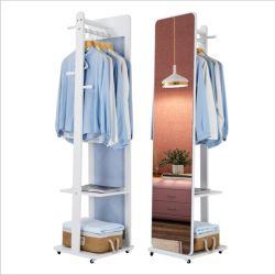 مرآة مصنوعة من الخشب الصلب، مرآة التركيب، مرآة كاملة الطول، مرآة أرضية مع خزانة ماكياج، حانجر، مرآة تخزين مدمجة