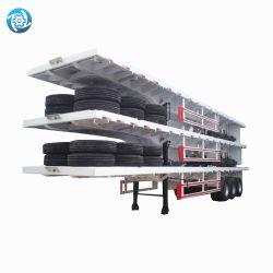 3 ESSIEUX 50 tonnes Étape de la remorque de benne basculante de vidage côté pont bennage de la remorque semi-remorque Dumper semi-remorque à plat avec la tête de lit pour la vente