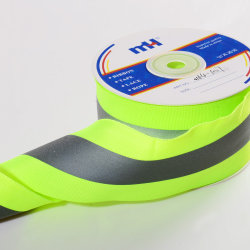 5 X 2cm Reflective Tape Safety Strip Sew op Lime Green Grey