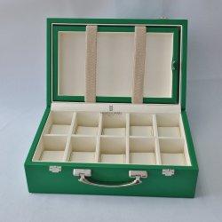 مخصص للسفر العالي الطرف يحمل الخشب ملتف PU ووتش 10 فتحات صندوق تعبئة شاشة تخزين الهدايا