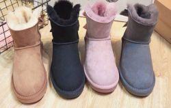 Botas de neve camurça especial meninas Bowknot Backside adorável botas de neve no Inverno