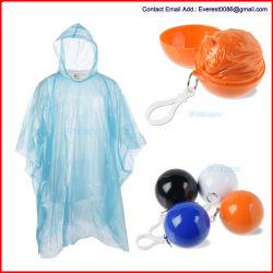 使い捨て可能な緊急雨ポンチョ、緊急のレインコート