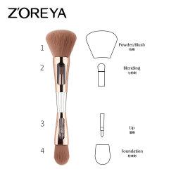 Fibra natural 4 en 1 Cepillo Facial maquillaje en polvo de la Fundación sintético Vegan brochas de maquillaje