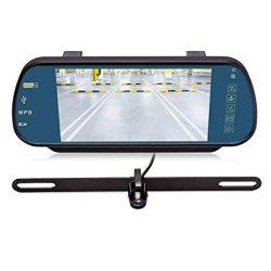 il video dello specchio di Rearview di 7inches Bluetooth con IP68 impermeabilizza la macchina fotografica d'inversione dell'automobile del recupero della targa di immatricolazione per i veicoli