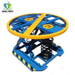 Posicionador de cargador de resorte giratoria 360 palets de tijera de la mesa de elevación