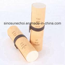 750mL 木製シリンダ丸バーチバーク木製ワインボックス、シルクリボン