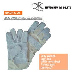 K-30 Split en cuir de vache patché Brassard Palm collé des gants en cuir