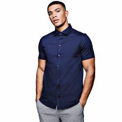 적당한 탄력 있는 면 남자의 짧은 소매 사업 셔츠를 체중을 줄이십시오