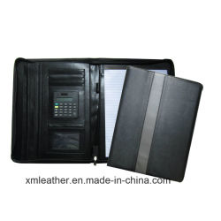 ジッパーA4 PUの計算機が付いている革ポートフォリオのホールダーのファイルホルダー