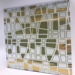Recubierto de titanio dorado Cristal de espejo de vidrio grabado ácido
