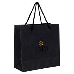 حقيبة ورق ذات مقبض أسود Luxuru مع هدية شفافة للطلاء بالأشعة فوق البنفسجية كيس ورقي