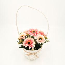 2020 Fleur artificielle de façon moderne de décoration de fleurs de Tournesol fleurs en plastique artificielle avec panier de fleurs