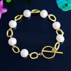 Edelstahl Schmuck Hersteller modische weibliche Perle T-Verschluss Armband