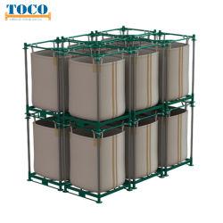 Taller de materiales de construcción de acero Barra apilada Big Bag Rack con pared de malla
