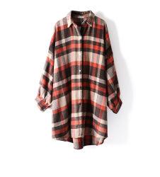 女性の女の子の毎日の摩耗の暖かさのコートの特大衣服のための長い格子縞のシャツを厚くするカスタマイズされた秋の冬の高品質の100%年の綿