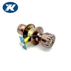 Liga de Cobre e de zinco antigo ball trava do botão da porta cilíndrico de segurança com Pressione o botão