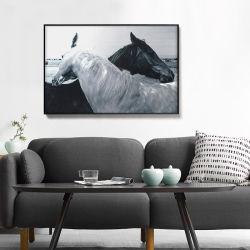 Los caballos de metal 3d aluminio impreso Óleo moderno interior todas las artes decorativas de inicio