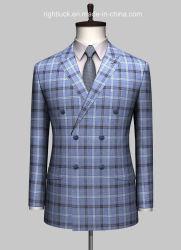 Alimentação de fábrica de Verificação de moda masculina Double-Breasted Tecido Tr Blazer Fatos de casaco smoking