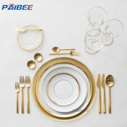 Livro Branco de luxo louça de cozinha Housewares Royal Louças Gold Dinnerware Rim define bone china