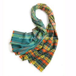 Lady Yarn-Dyed colorés de style pastoral Vintage vérifié l'Écharpe de laine tissé