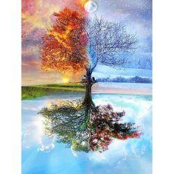 5D DIY 다이아몬드 색칠 풍경화 4 절기 나무