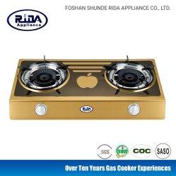 Venta caliente Quemador de acero inoxidable esmaltado 2 llama rotatorio estufa de gas Aparato de Cocina
