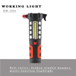 자동차 비상 플래시카라이트 안전 벨트 절단기와 해머 브레이커 빨간색 경고 LED 작업등
