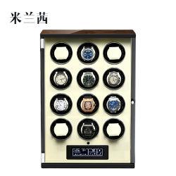 Au/EU/Us/UK het Automatische Enige Hoofd van de Spoel van het Horloge voor Doos van het Geval van de Opslag van 12 Wijzen van Horloges de Zwarte Duurzame Vijf