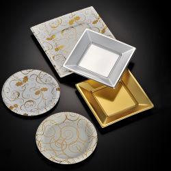 Wegwerpbare plastic Gold Square Party Dinnerware Plate for Wedding Birthday