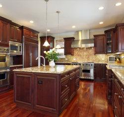 Het stevige Houten Moderne Keukenkasten Gesneden Kabinet van de Voorraadkast van het Rek van de Keuken