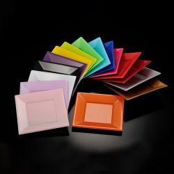 18cm ( 7 インチ)ディスポーザブル PS プラスチックカラフル正方形プレート(パーティー用
