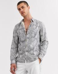 [منس] [لونغ كمضرب] قميص رجال [تتشيرت] غير رسمية مكتب مخصص قميص Snakeskin عادي باللون الرمادي