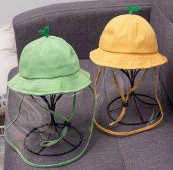 Niños Bebé Algodón Lindo Cubo Protector de Plástico Transparente Sombreros para el Sol Protector contra Salpicaduras Sombrero de Pescador