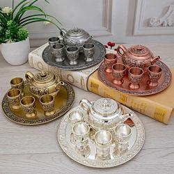 Рамадан Карим подарки арабский дизайн Золотой Rron Kirsite Teapot установить