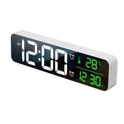 De façon numérique DEL Alarm clock Horloge murale avec thermomètre de température de la date du calendrier