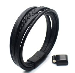 Bracelet Acier fermoir magnétique peau de vache multicouche tressé Wrap Mens Bracelet