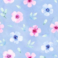 Poids léger motif imprimé fleur Polyester tissu crêpe en mousseline Shirt ondulée