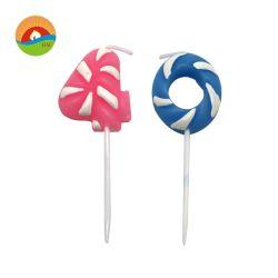 Garçon/fille faveur en forme de bougie numérique Lollipop artistique