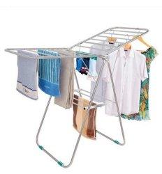 Cremagliera piegante del panno della lavanderia del metallo dell'ala bianca portatile dell'interno dei vestiti