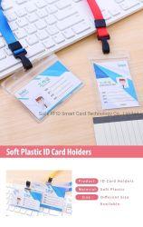 Claro ID impermeable de PVC plástico suave tarjetahabiente titular de la Insignia de negocios