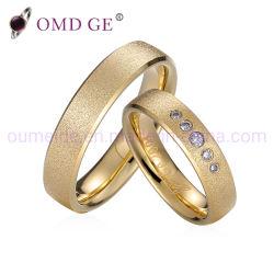 Anelli di barretta d'acciaio placcati oro operato per le coppie