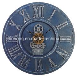 Girar a roda da engrenagem Quartz Analog Grande Relógio de parede de ferro