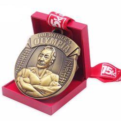 Amazon Hot Sale Prix vierge de l'exécution de l'haltérophilie Race Metal Or Argent Bronze MÉDAILLES Médaille personnalisé