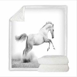 White Horse 3D Imprimir Sherpa cobertor extras definidos