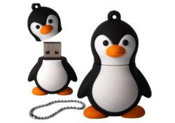 هدية ترويجية محرك فلاش USB رخيصة سعة كاملة بنغوين USB Pendrive حلقة مفاتيح USB