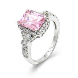 Cristal Rosa Anéis para as mulheres de cor prata em língua inglesa 925 Stelring Prata anel de banda Luxury belas jóias